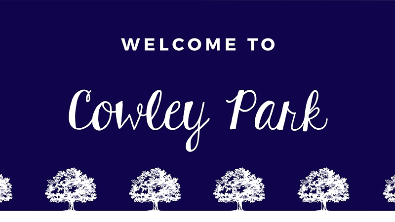 Cowley park welcome sign